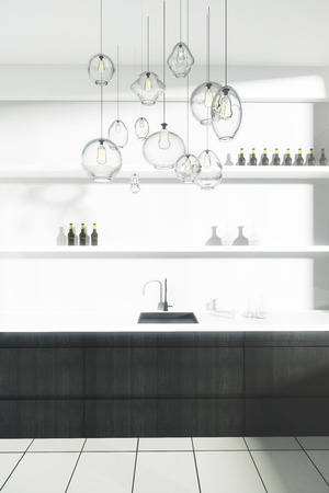 Kitchen Counter With Sink And Shelves With Items. Front View, 3D Rendering  Photo