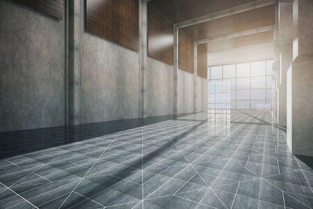 Zijaanzicht van corridor interieur met gedessineerde vloer, betonnen muur en een panoramisch raam met daglicht. 3D Rendering