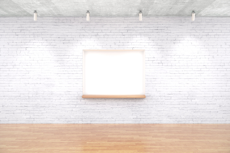 seating: White brick interior design with built-in-wall seating, wooden floor and ceiling lamps. Mock up, 3D Rendering
