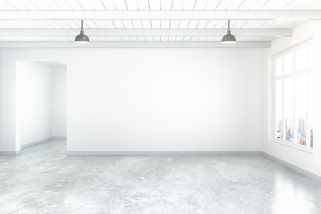 Empty room interior with blank concrete wall, floor, ceiling and window with city view. Mock up, 3D Rendering Reklamní fotografie