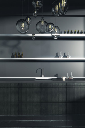 kitchen counter: Dark kitchen counter with sink and shelves with items. Front view, 3D Rendering
