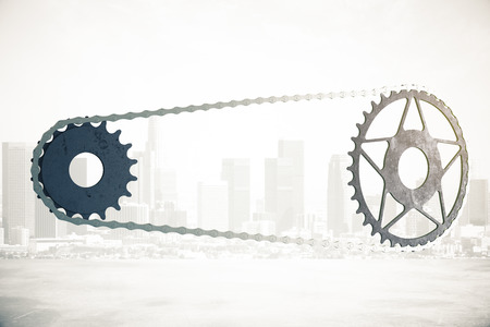 gearing: Bicycle gearing on abstract city background. 3D Rendering