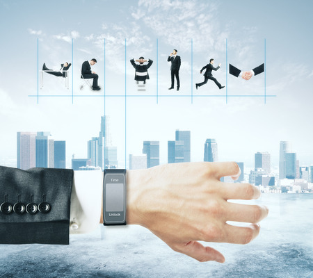 watch city: Smart watch with businessmans schedule on city background