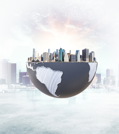 urbanization: Urbanization concept with globe and city on abstract background with sunlight. 3D Rendering.