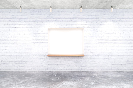 seating: White brick interior design with built-in-wall seating and ceiling lamps. Mock up, 3D Rendering Stock Photo