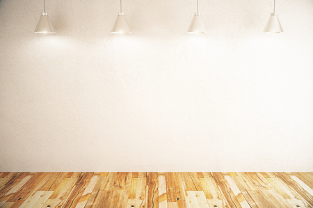 on the floor: Blank concrete wall in room with wooden floor and ceiling lamps. Mock up, 3D Rendering