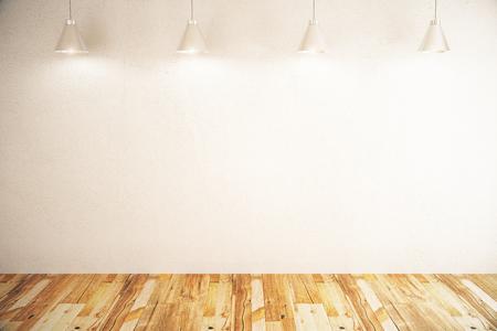 piso piedra: muro de hormigón blanco en habitación con lámparas de piso y techo de madera. Maqueta, 3D Foto de archivo