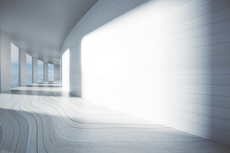 empty space: Empty corridor interior with blank wall, city view and sunlight. Mock up, 3D Rendering