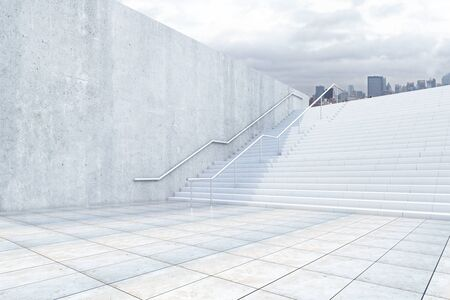 concrete stairs: Side view of concrete stairs leading to city. Success concept. 3D Rendering Stock Photo