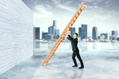 Obstacle overcoming concept with businessman pushing ladder to brick wall on city background. 3D Rendering