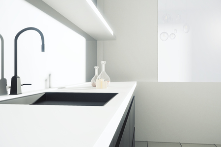 closeup: Side view of kitchen counter with sink and shelves with items. Closeup, 3D Rendering