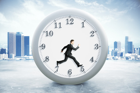 rushing hour: Time management concept with running businessman inside clock on city background. 3D Rendering
