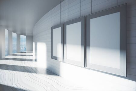 hospital corridor: Blank picture frames in corridor interior with sunlight and city view. Mock up, 3D Rendering