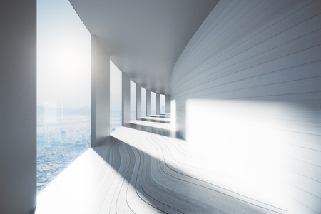corridor: Empty bright corridor interior with city view and sunlight. 3D Rendering