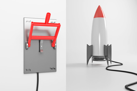 Startup concept with abstract rocket ship connected to upturned lever switch on white background. 3D Rendering