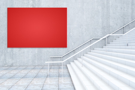 bill board: Side view of empty red billboard on wall and concrete staircase. Mock up, 3D Rendering Stock Photo