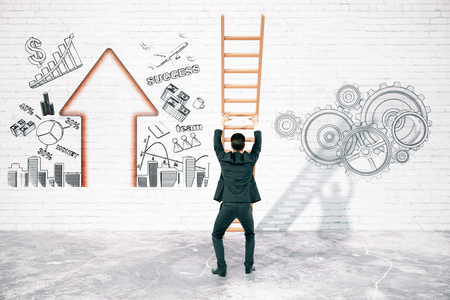 overcoming: Business difficulties overcoming concept with businessman pushing ladder to brick wall with business charts. 3D Rendering Stock Photo