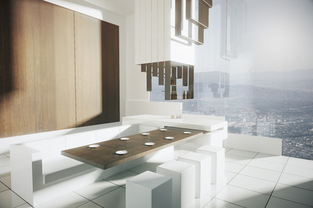 side bar: Side view of modern kitchen interior with tile floor, wooden wall, dining area, bar stand and panoramic window with city view. 3D Rendering