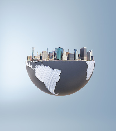 urbanization: Urbanization concept with globe and city on grey background. 3D Rendering. Stock Photo