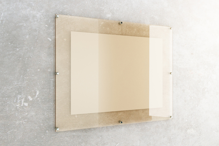 concrete background: White banner under glass plate on concrete wall background. Mock up, 3D Rendering Stock Photo