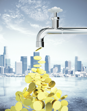 wealth concept: Golden coins flowing from an open faucet on city background. Wealth concept. 3D Rendering