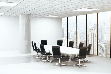 round chairs: Side view of bright concrete conference room interior with round table, chairs, column and panoramic window with city view. 3D Rendering