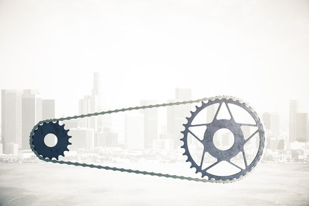 gearing: Bicycle gearing on abstract foggy city background. 3D Rendering Stock Photo