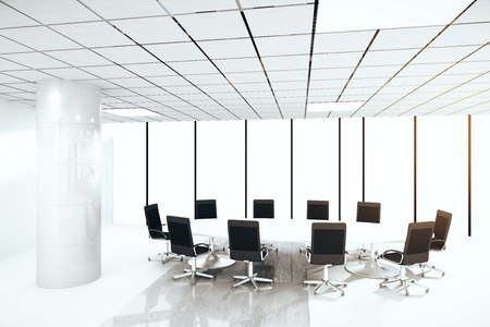 round chairs: Bright concrete conference room interior with round table, chairs, column and panoramic window with no view. 3D Rendering Stock Photo