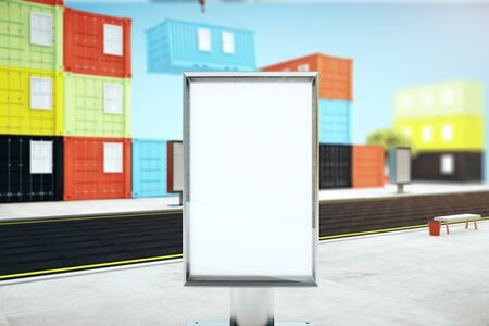 dockyard: Closeup of blank ad stand in the street and colorful cargo containers on sky background. Mock up, 3D Rendering Stock Photo