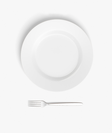 potluck: Top view of empty plate and fork on white table. Mock up, 3D Rendering