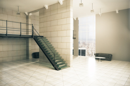 stairs interior: Side view of interior design with stairs, concrete tile floor and walls, several couches, coffee tables and window with city view. 3D Rendering