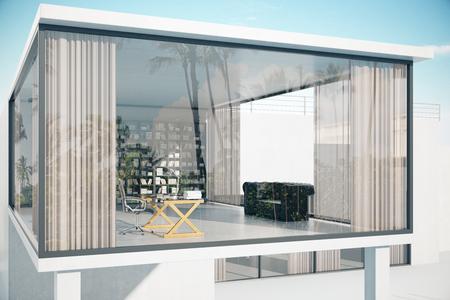 Zie-through huis buitenkant met panoramische ramen, op het werk, bank en boekenplank. 3D Rendering