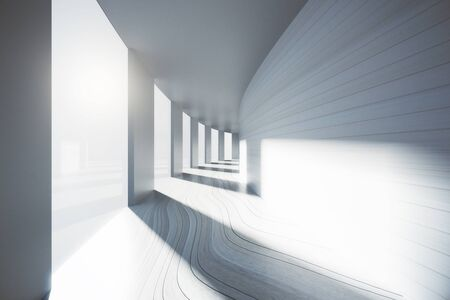 corridor: Empty corridor interior with sunlight. 3D Rendering Stock Photo