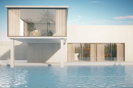 luxurious: Luxurious house exterior with swimming pool on sky background. 3D Rendering