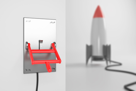 turned: Startup concept with abstract blurry rocket ship connected to turned down lever switch on white background. 3D Rendering