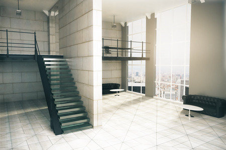 concrete stairs: Interior design with stairs, concrete tile floor and walls, several couches, coffee tables and window with city view. 3D Rendering Stock Photo