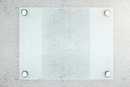 plate: Closeup of blank glass plate on textured concrete wall background. Mock up, 3D Rendering