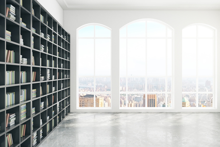 city view: Side view of bookshelf in concrete library interior with windows and city view. 3D Rendering Stock Photo