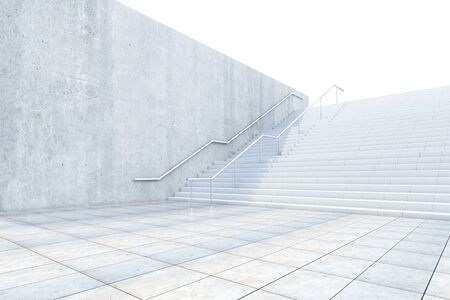 concrete stairs: Success concept with concrete stairs leading up. 3D Rendering Stock Photo