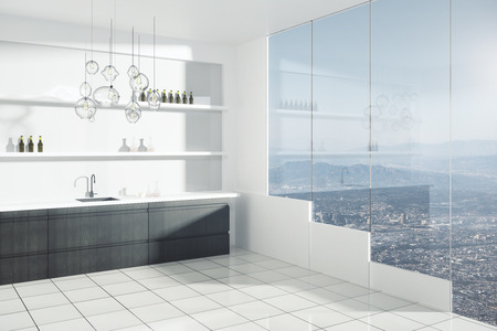 view window: Contemporary bright kitchen interior with sink, shelves with items and window with city view. 3D Rendering