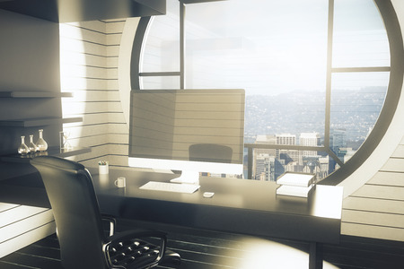 office window view: Office workplace with dark chair, desk with blank computer, monitor, shelves with decorative items and round window with city view. Mock up, 3D Rendering