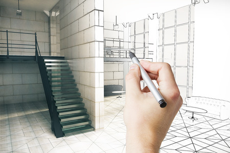 Hand turning exterior blueprint on paper into real building hand finishing real estate interior sketch 3d rendering photo malvernweather Image collections