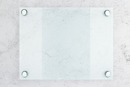 Closeup of blank glass plate on concrete wall background. Mock up, 3D Rendering Reklamní fotografie - 59399851