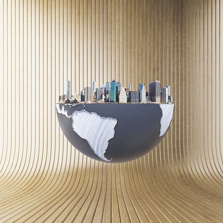 urbanization: Urbanization concept with globe and city on brown background. 3D Rendering.