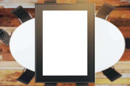 round table: blank poster on a conference room interior with round table. 3D Rendering