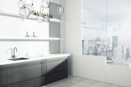 modern kitchen interior: Side view of modern kitchen interior with sink, shelves with items and window with city view. 3D Rendering