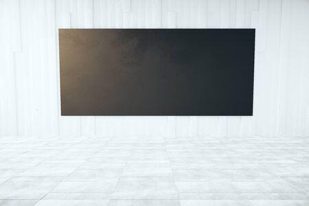 bill board: Front view of blank black billboard in concrete room. Mock up, 3D Rendering