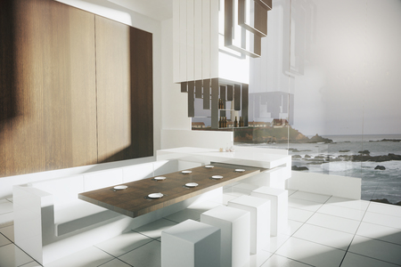 side bar: Side view of modern kitchen interior with tile floor, wooden wall, dining area, bar stand and panoramic window with seashore view. 3D Rendering
