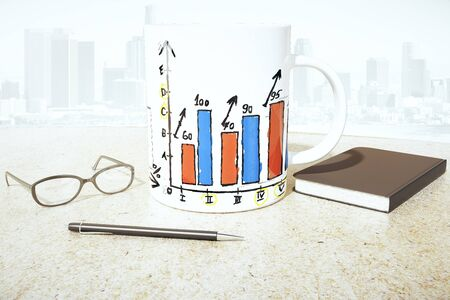 growth hot: White coffee mug with business chart on light surface with glasses, notepad and pen. City background. 3D Rendering
