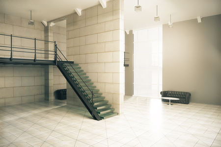 concrete stairs: Side view of interior design with stairs, concrete tile floor and walls, several couches, coffee tables and window with sunlight. 3D Rendering